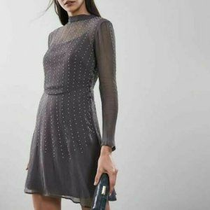 Reiss Charcoal Camille Pearl High Neck Mini DressS